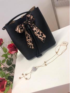 Dámska kabelka s mašľou - čierna