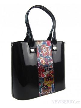 Dámska kabelka GROSSO čierna s kvetmi
