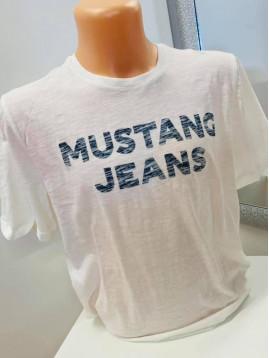 Pánske tričko biele s nápisom Mustang