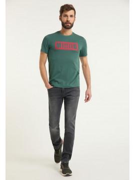 Pánske tričko zelenej farbe s červeným nápisom
