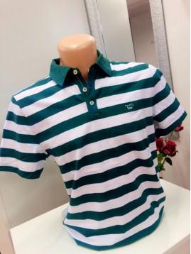 Pánska polokošeľa  -bielo zelená s logom MUSTANG