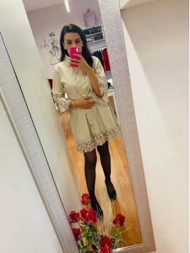 Dámske koženkové šaty PF
